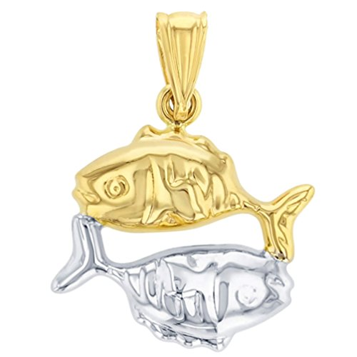(High Polish 14K Yellow Gold Pisces Zodiac Sign Charm Pendant)
