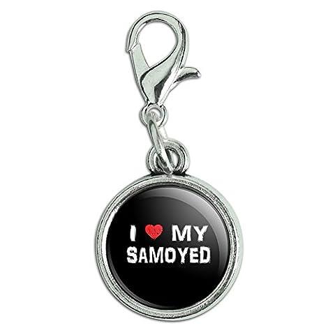 Antiqued Bracelet Pendant Zipper Pull Charm with Lobster Clasp I Love My Dog P-S - Samoyed - Samoyed Jewelry
