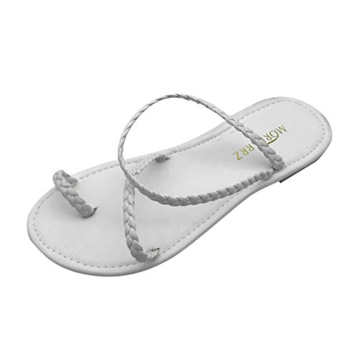 MILIMIEYIK Slippers for Men, Women's Double Open Toe Band Slingback Buckle Flat Sandals Ring Strappy Slip-On Slide Sandal White]()