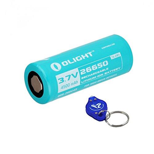 Olight 4500mAh 3.7V 26650 High Capacity Battery for Olight R40 R50 & R50 PRO Flashlights plus LumenTac Keychain Flashlight (R50 Battery Series)