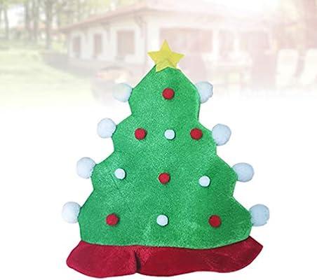 Amosfun Sombrero de Árbol de Navidad de Felpa con Pompones Gorro ...