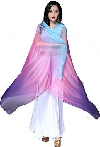 ZLTdream Colors Belly Dance Veils and Scarf 82.7 43.3inch - Dance Skirt Belly Dancing Veil