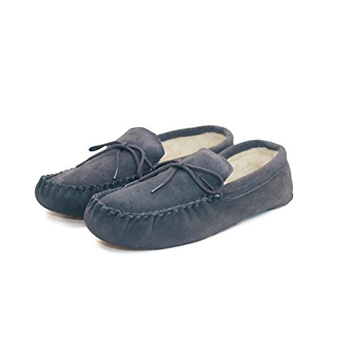 Eastern Counties Leather Unisex Wool-Blend Soft Sole Moccasins (16 US) (Navy)