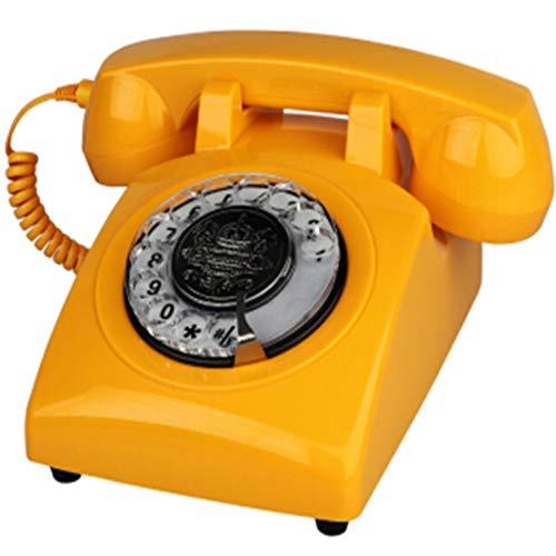 Retro Phone Rotating Dialing 1970s Style Old Landline Phone, Authentic Retro Ringtones (Yellow)
