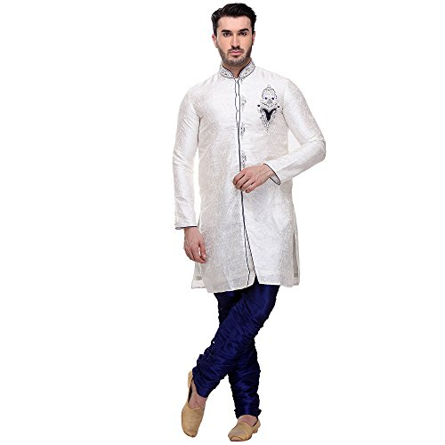 Brocade Kurta - Men's Brocade Kurta Pajama Set in Off White