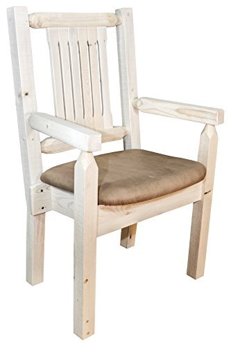 (Montana Woodworks MWHCCASCNBUCK Homestead Collection Captain's Chair, Ready to Finish with Upholstered Seat, Buckskin Pattern)