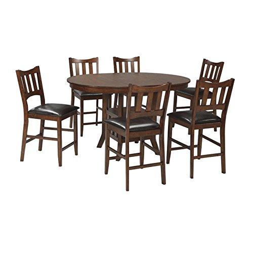 Ashley Renaburg 7 Piece Counter Height Dining Set in Medium Brown