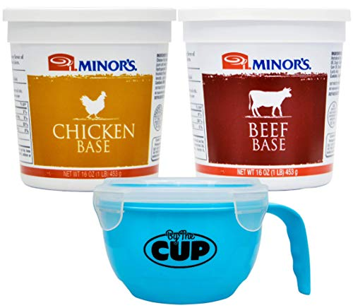 By The Cup Soup Bowl Bundle - Minor's Original Formula Chicken and Beef Base, 16 Ounce Containers (Pack of 2) - with 1 BPA-Free Microwavable Bowl ()