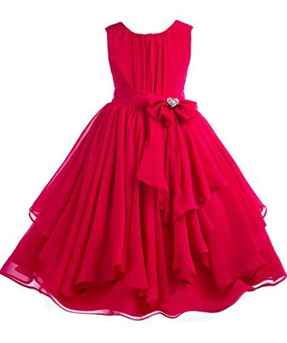 Elegant Yoryu Chiffon Ruched Bodice Rhinestone Flower girl dress wedding 162s 6 (Designer Communion Dresses)