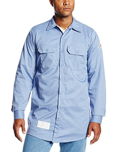 Sleeve Utility Shirt - Bulwark Flame Resistant 7 oz Cotton Work Shirt with Sleeve Vent, Light Blue, Large