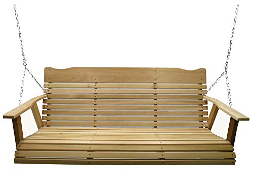 Kilmer Creek 5′ Natural Cedar Porch Swing, Amish Crafted – Includes Chain & Springs