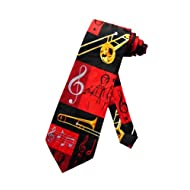 WI-313 - Mens Novelty Trombone Necktie - Black Gold Red