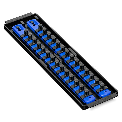 (Ernst Manufacturing Socket Boss 2-Rail 3/8-Inch-Drive Socket Organizer, 13-Inch, Blue)