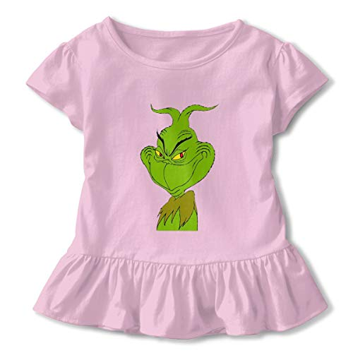 Kim Mittelstaedt Wry Smile Grinch Children's Short Sleeve T-Shirt Girl's Cute Soft Cotton Dress Pink 3T (Smock Detail Tunic)
