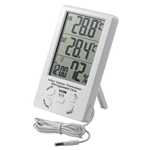 IDS Home Digital Indoor Outdoor thermometer Hygrometer Alarm Clock with 5'' LCD Display by IDS Home