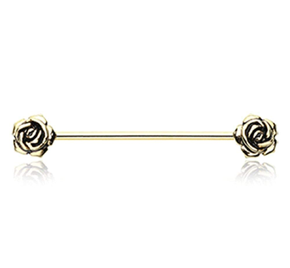 Covet Jewelry Golden Double Rose Flower Industrial Barbell