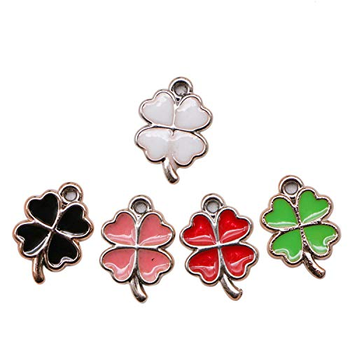 JETEHO 50Pcs Enamel Clover Charms, Four Leaf Clover Charms Pendants for Jewelry Making DIY Crafting Finding Supplies