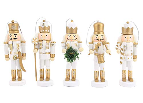 Liliam 5pcs Wooden Nutcrackers Soldiers Set Puppet Christmas Ornament Home Decoration