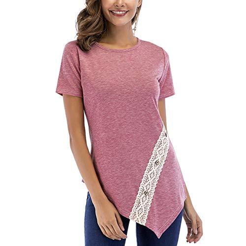 (HUHHRRY Women Casual Lace Tops Short Sleeve Asymmetric Hem Button Tunic Blouse)