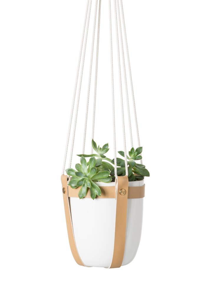 Mkono Ceramic Hanging Planter Leather Macrame Plant Hanger with Flower Pot for Succulent Herb