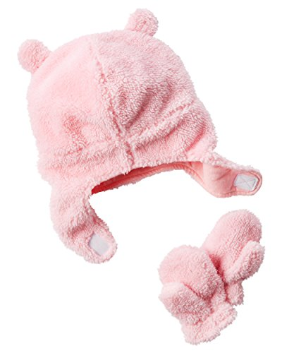 Pilot Velboa Hat & Mitten Set (12-24 Months, Pink) ()