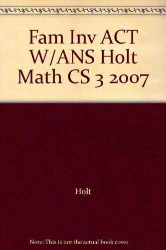 Holt Mathematics, Course 3, Family Involvement Activities