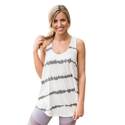 Perman Cheap Women Vest, Casual Sports Printed Sleeveless O Neck Loose Fit Tank Vest Tops On Sale (M, White)