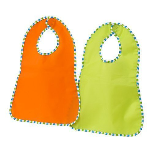 Ikea Baby Bibs, 2 Pack, Orange, Green