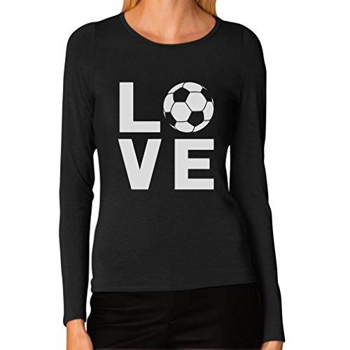 I Love Soccer for Soccer Players/Fans Women Long Sleeve T-Shirt Medium Black