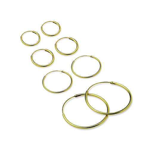 10 Yellow Roses (Four Pair Set Hoop Earrings - Yellow Gold Flashed Sterling Silver Cartilage Nose Ears Lips)
