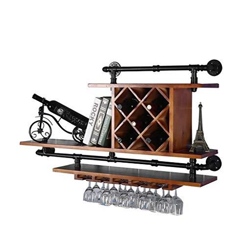 (DUDDP Wine Holder Wine Shelf Wine Holder European Retro Water Pipe Wall Wood Wine Glass Holder Wall-Mounted Hanging Wooden Shelf as Bottle Holder For Bar/Kitchen/Restaurant Wine Glasses Rack)