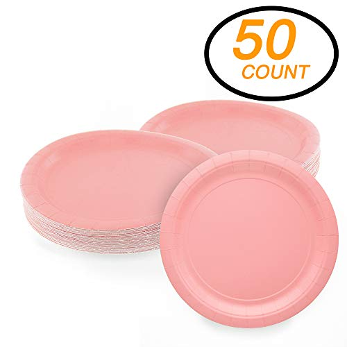 Amcrate Pink Disposable Paper Party Plates 9