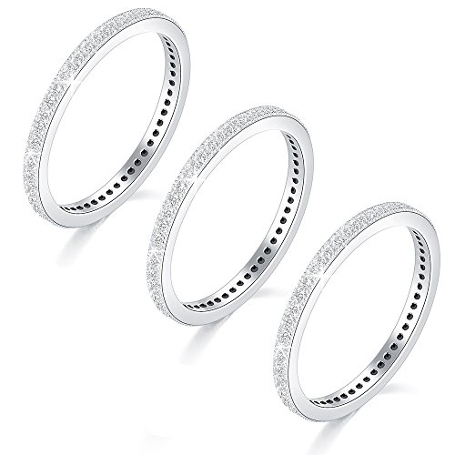 JC 3 Pcs CZ Eternity Band Rings Stackable Cubic Zirconia Pave Ring Set Anniversary Size 7 (Pave Stackable Ring)