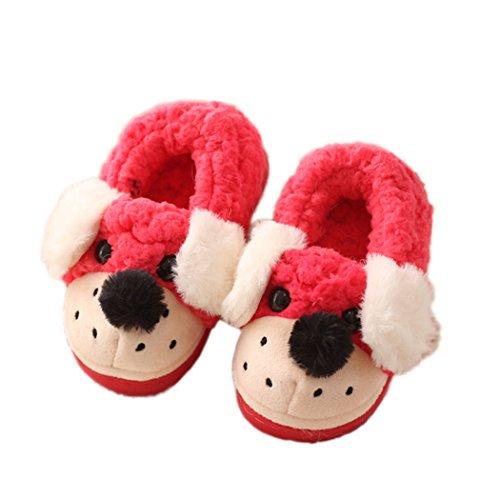 Miyang Barn / Småbarn Söt Panda / Hund Vintern Varmt Hus Tofflor Tossor Hund Röda