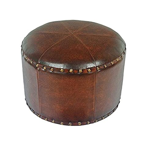 International Caravan YWLF-2526-BR-IC Furniture Piece Mini Round Faux Leather Stool (Brown Ottoman Round)