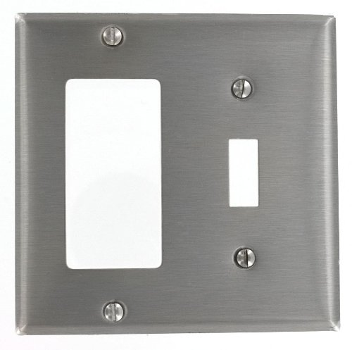 Gang Steel Stainless Plate (Leviton S126 2-Gang 1-Toggle, Decora/GFCI Device Combination Wallplate, Device Mount, Stainless Steel)