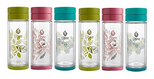 Libre MIXED Gift Pak: 2pcs Pink, 2 pcs Teal, 2 pcs Green, Infuser Bottle with a Durable Glass Interior - 14.3 oz. by Libre - On-The-Go Tea Glasses