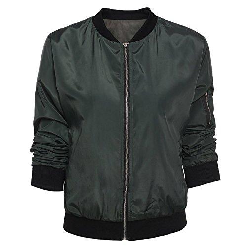 Donna Lunghe Giacche Giacca Maniche Verde Motociclista Minetom Cappotto Magliette Trapuntato Casual gZnzw7