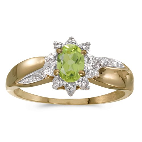 0.41 Carat ctw 14k Gold Oval Green Peridot Solitaire & Halo Diamond Fashion Swirl Cocktail Ring - Yellow-gold, Size 11