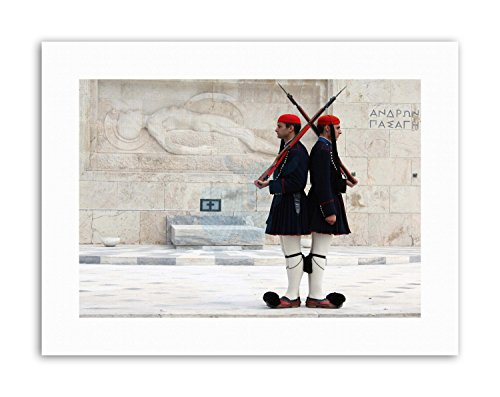 Wee Blue Coo EVZONES OR TSOLIADES Palace Guards Athens Greece Photo Poster Canvas Art Prints ()
