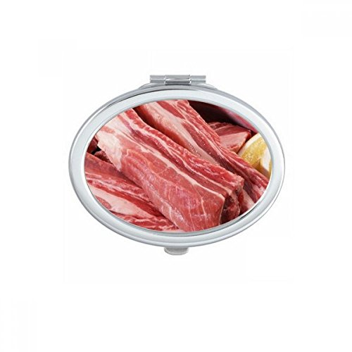 - DIYthinker Rib Chop Raw Meat Food Texture Oval Compact Makeup Mirror Portable Cute Hand Pocket Mirrors Gift