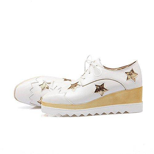 AgooLar Damen Mittler Absatz Rein Schnüren Weiches Material Quadratisch  Zehe Pumps Schuhe Weiß ...