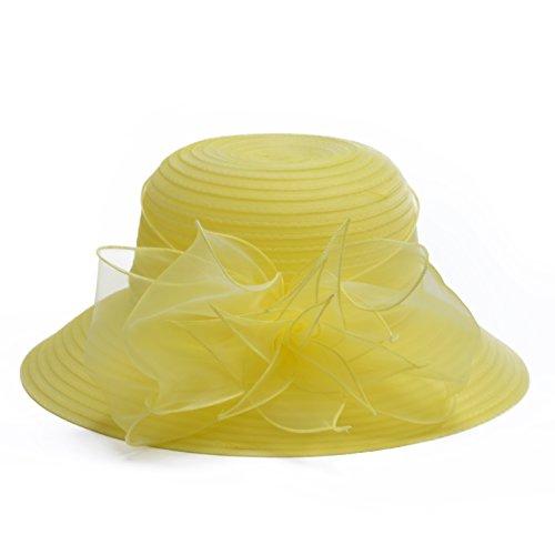 Womens Kentucky Derby Floral Wide Brim Church Dress Sun Hat A323 (Lemon Yellow) for $<!--$13.99-->