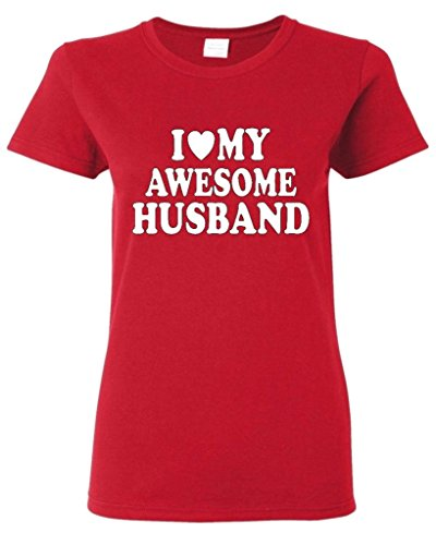 I Love My Awesome Husband Women T Shirt Couple Shirts Small Red