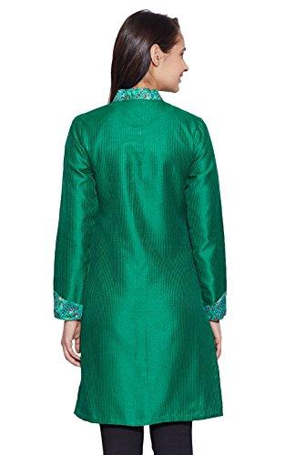 Soie Ethnique Manteau Femme Vert Top Veste Longue Faux BqwZHxdBRX