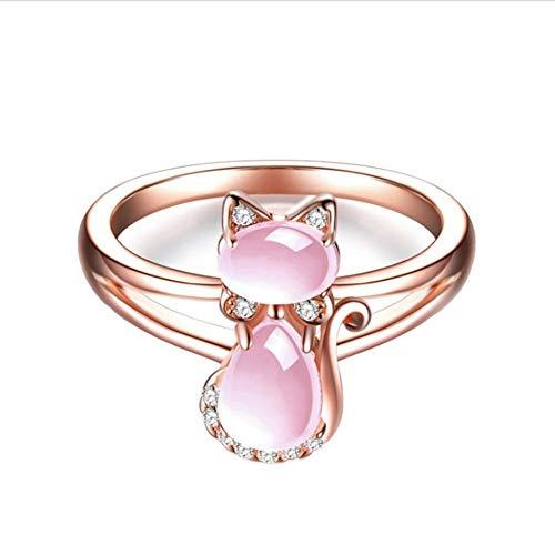 Biback Rose Golden Natural Powder Crystal Finger Ring Bridal Engagement Wedding Ring Jewelry Set for Women.