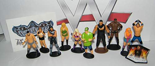 WWE Wrestling Deluxe Mini Figure Set of 12 Toy Kit with 10 Figures, WWE FingerRing and Temporary Tattoo Featuring John Cena, Seth, Becky, AJ, Finn and More!