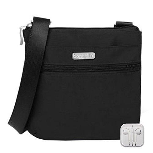 Pocket Phone RFID Bundle Small Earphones Baggallini w Black Travel Crossbody IxqOXXwv
