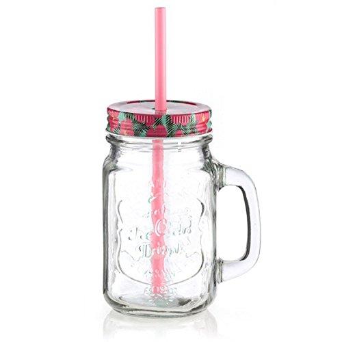 Jarra de cristal con tapa y pajita–vidrio coktail de zumo Original Euroweb