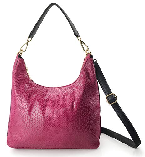 Handbag Snake Pink - Shining Hobo Slouch Shoulder Handbag Women Satchel Snake Print Cross body Bag (Hot Pink)